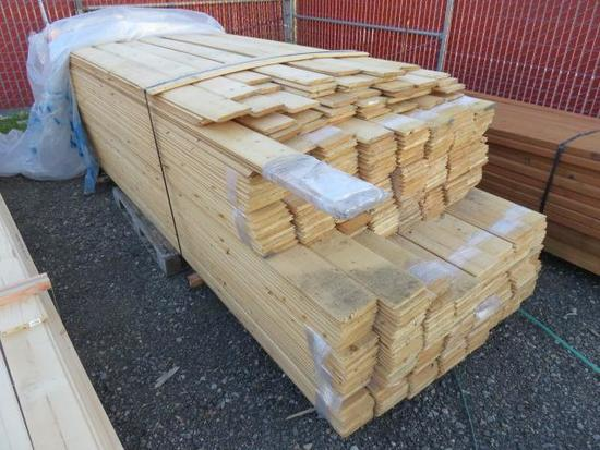 PALLET OF ASSORTED LENGTH 6'' PINE TONGUE & GROVE BOARDS