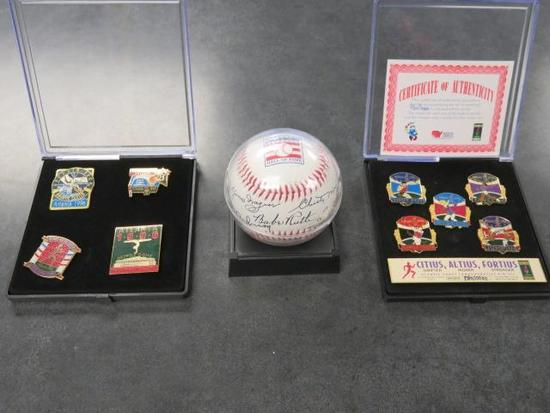 (2) 1996 OLYMPIC GAMES COLLECTOR'S PIN SET W/ CERTIFICATE OF AUTHENTICITY & NATIONAL BASEBALL