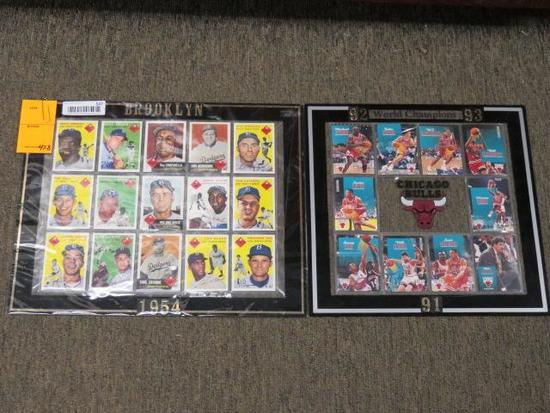 (1) CHICAGO BULLS BASKET BALL CARD SET, (1) BROOKLYN DODGERS BASEBALL CARD SET