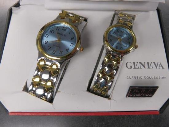 GENEVA HIS & HERS SILVER & GOLD WATCHES