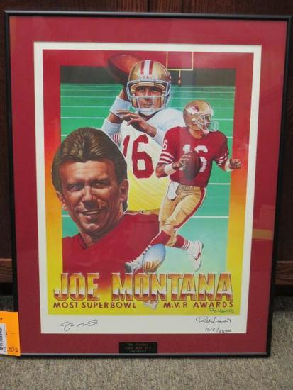 JOE MONTANA SUPER BOWL MVP 1982-85-90 AUTOGRAPHED AND NUMBERED PRINT #1612/2500