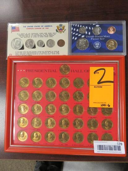 PRESIDENTIAL HALL OF FAME FRAMED COIN SET, UNITED STATES MINT PROOF SET, & COMPLETE COINAGE OF 1965