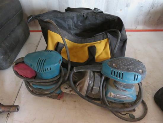 (2) CORDED MAKITA PALM SANDERS IN DEWLAT TOOL BAG