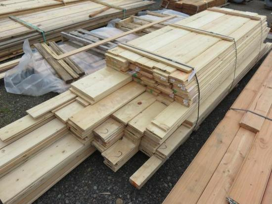 ASSORTED LENGTH AND WIDTH TONGUE & GROOVE & FLAT PINE BOARDS