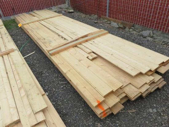 PALLET OF ASSORTED LENGTH 5'' PINE TONGUE & GROOVE BOARDS