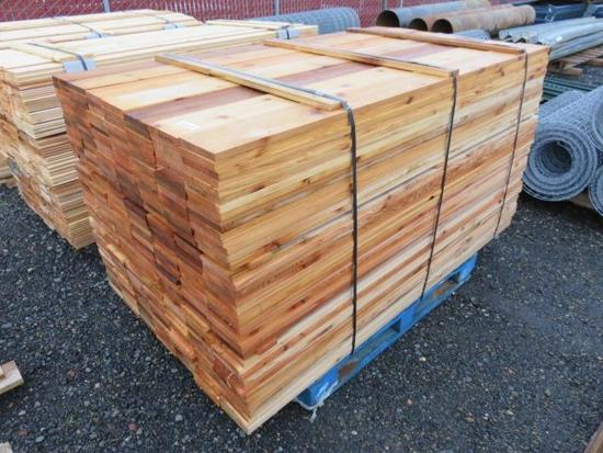 PALLET OF APPOXIMATELY 322 6' X 6'' CEDAR BOARDS