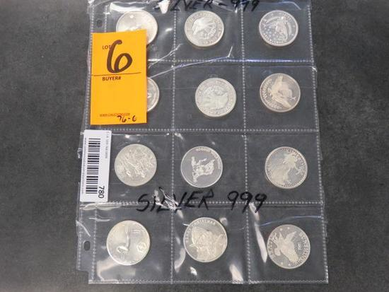 (12) ASSORTED ONE TROY OUNCE COINS