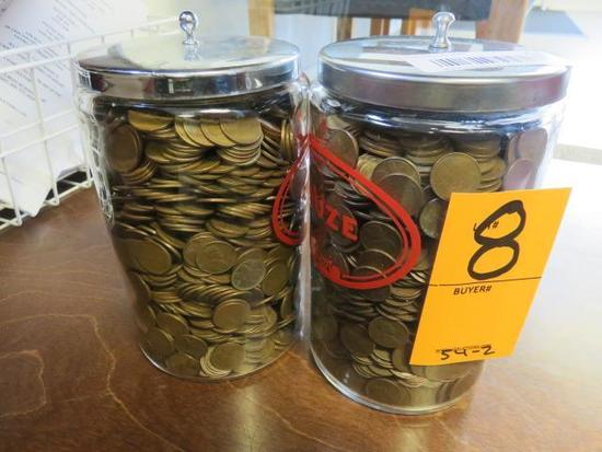TWO JARS OF WHEAT PENNIES