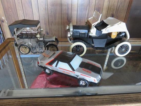 (1) VINTAGE CAR SHOT GLASS DECANTER, (1) ASI VINTAGE CHEVROLET DECANTER, (1) 1979 MUSTANG PACE CAR