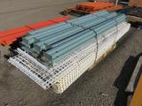 (3) 10' PALLET RACK UP RIGHTS, (12) 100'' LOAD BEAMS W/WIRE RACK/DECK