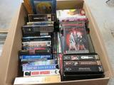 (2) BOXES OF DVD'S, VHS TAPES & AUDIO BOOKS