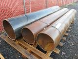 PALLET W/ (2) APPROXIMATELY 110''L X 15''D STEEL PIPES AND (1) 116''L X 19''D STEEL PIPE