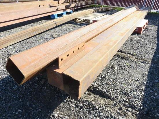 "PALLET W/ (4) 20' X 6"" X 6"" SQUARE STOCK STEEL"