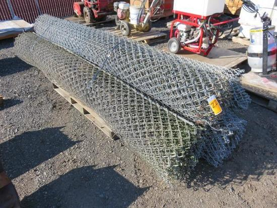 PALLET W/ (4) ROLLS OF GALVANIZED 10' CHAIN LINK FENCE
