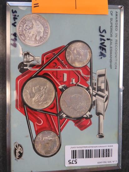 1922 LIBERTY SILVER DOLLAR, 1923 LIBERTY SILVER DOLLAR, (2) 1968 HALF DOLLAR, & 1 TROY OZ SILVER COI