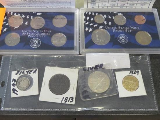 UNITED STATES MINT PROOF SET, UNITED STATES QUARTERS PROOF SET, & (4) ASSORTED COINS
