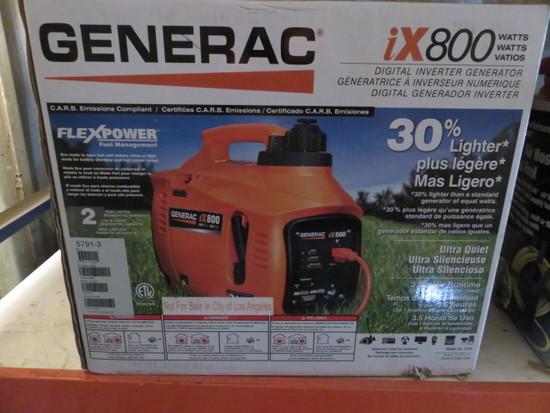 GENERAC IX800 DIGITAL INVERTER GENERATOR, 800 WATTS