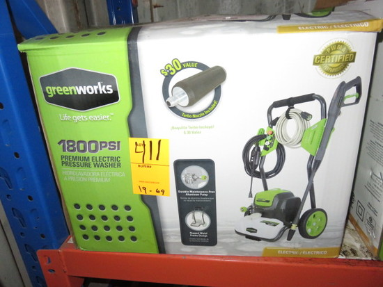 GREEN WORKS 1800 P.S.I. ELECTRIC PRESSURE WASHER MDL# GPW1800