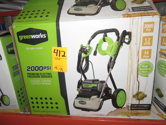 GREEN WORKS 1800 P.S.I. ELECTRIC PRESSURE WASHER MDL# GPW2000-1