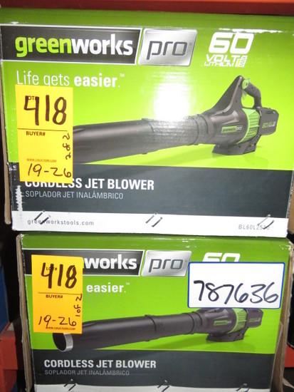 (2) GREENWORKS 60 VOLT CORDLESS JET BLOWER, MDL BL60L2510 (NO BATTERIES)