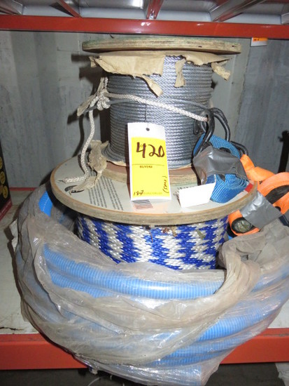 LOT W/ ROLL OF STEEL WIRE ROPE 3/16'', (2) RATCHET STRAPS, ROLL OF BRAIDED