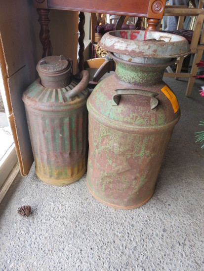 (2) VINTAGE MILK/OIL CANS