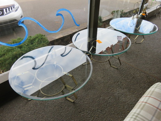 (3) GLASS TOP COCKTAIL TABLES