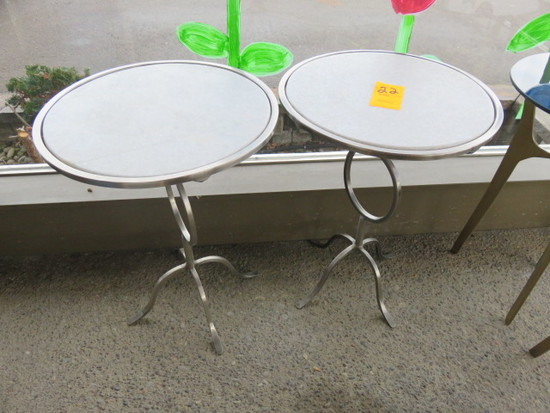 (2) SILVER & GRAY TABLES