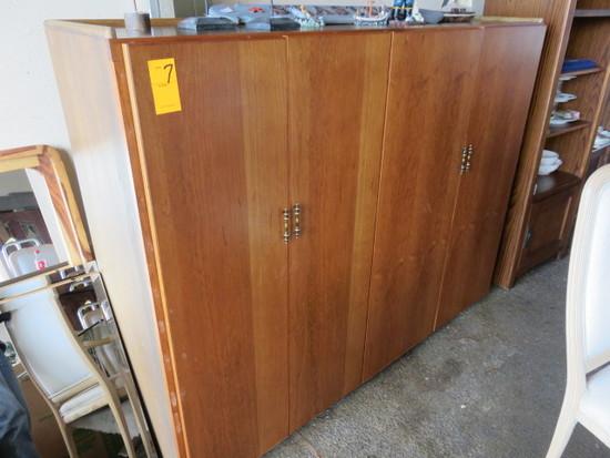 WOOD 4 DOOR CABINET
