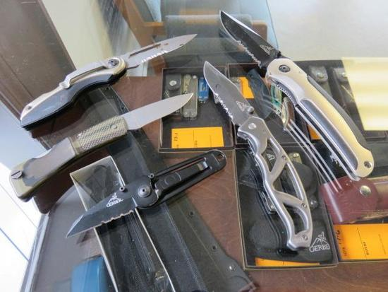 5 GERBER FOLDING KNIVES