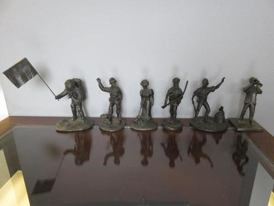6 PIECE FINE PEWTER SET - JAZZMAN, THE PATHFINDER, THE FIRST CITIZEN, THE G.I., GIBSON GIRL