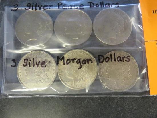 (3) 1921 MORGAN SILVER DOLLARS AND (3) PEACE SILVER DOLLARS