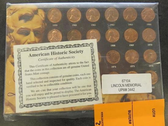 LINCOLN MEMORIAL 1959-1982 COPPER PENNY SET