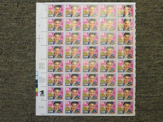 1992 US POSTAL FULL SHEET OF 40/29 CENT STAMPS OF ELVIS PRESLEY