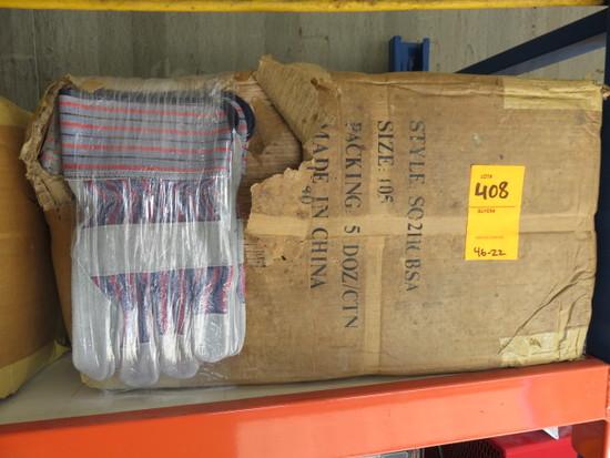 (1) BOX W/ 5 DOZEN CANVAS AND LEATHER GLOVES