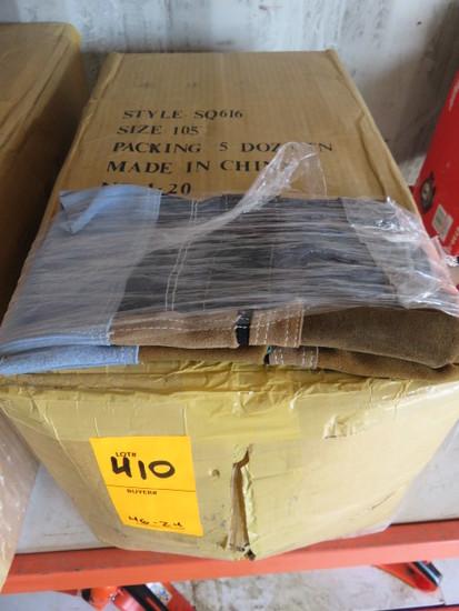 (1) BOX W/5 DOZEN CANVAS AND LEATHER GLOVES
