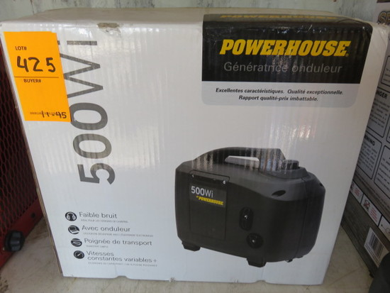 POWERHOUSE 500W GAS INVERTER GENERATOR, DC OUTPUT, 12V-2.5A