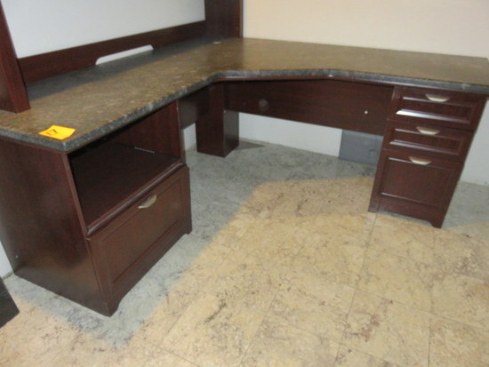 WOOD DESK W/STONE TOP