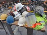 ASSORTED HARD HATS, SAFTY VESTS, & FACE SHIELDS