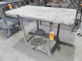 METAL FRAMED PORTABLE CART W/STONE TOP