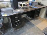 METAL DESK W/STONE TOP ONLY (NO CONTENTS)