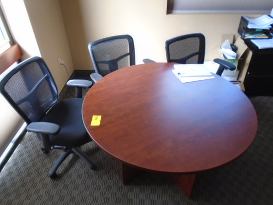 WOOD TABLE WITH (5) OFFICE CHAIRS