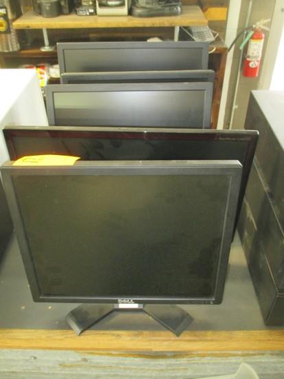 (5) MONITORS & BOX W/ASSORTED ELECTRONICS