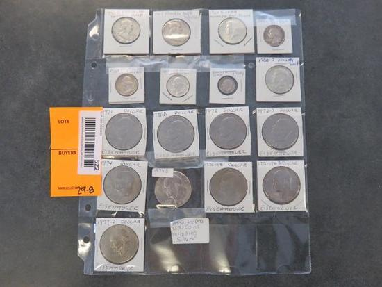PROTECTIVE COIN SLEEVE W/ ASSORTED U.S. COINS