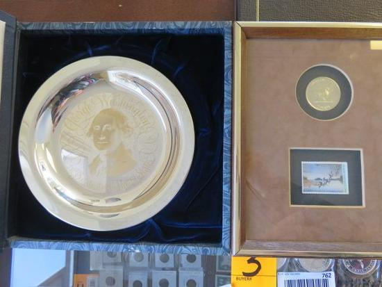 GEORGE WASHINGTON COMMEMORATIVE PLATE & 50 YEAR OF CONSERVATION 'DUCKS UNLIMITED' FRAMED COIN
