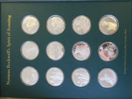 NORMAN ROCKWELL'S SPIRIT OF SCOUTING STERLING SILVER 12 COIN COLLECTOR SET