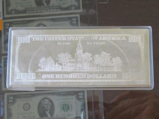 YEAR 2000 SILVER PLATE 100 DOLLAR COMMEMORATIVE BILL
