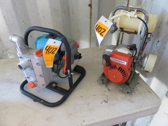 LOT W/ GARDENA 9000/3 GAS POWERED WATER PUMP, KAWASAKI 311736C GAS POWERED