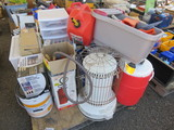 PALLET W/ASSORTED HEATERS, SPRAYER, PAINT SUPPLIES