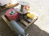 PALLET W/ASSORTED HOSE REELS, BRAIDED WIRE, CHAIN BINDERS & ELECTRIC EXTENS